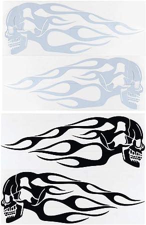Adesivi personalizzabili scheletro e fiamme Nero 2 pezzi Fovor universali per serbatoio del gas
