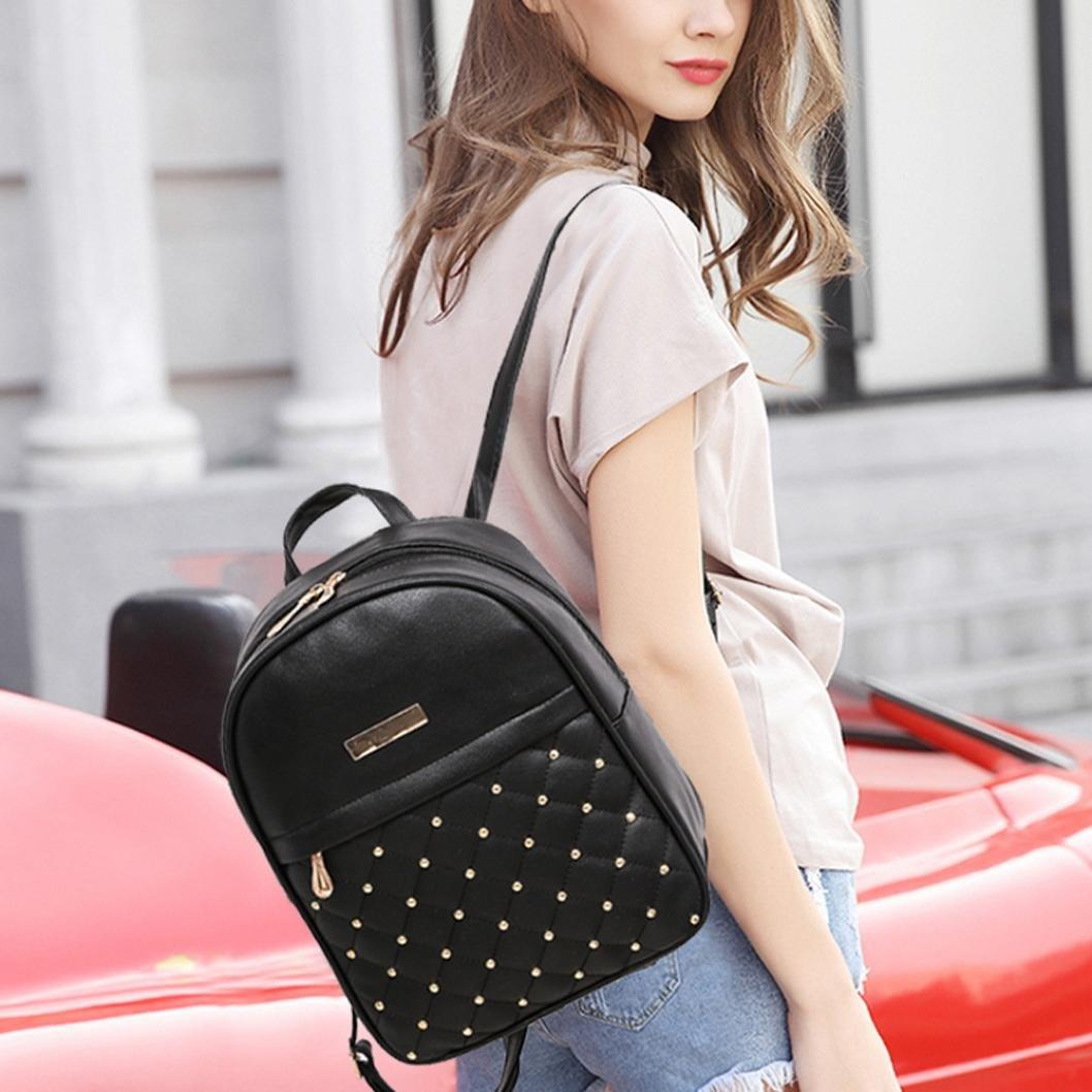 DDLBiz Women Rivet Daypack Fashion Causal Bags Bead Shoulder Bag Backpacks (Black)
