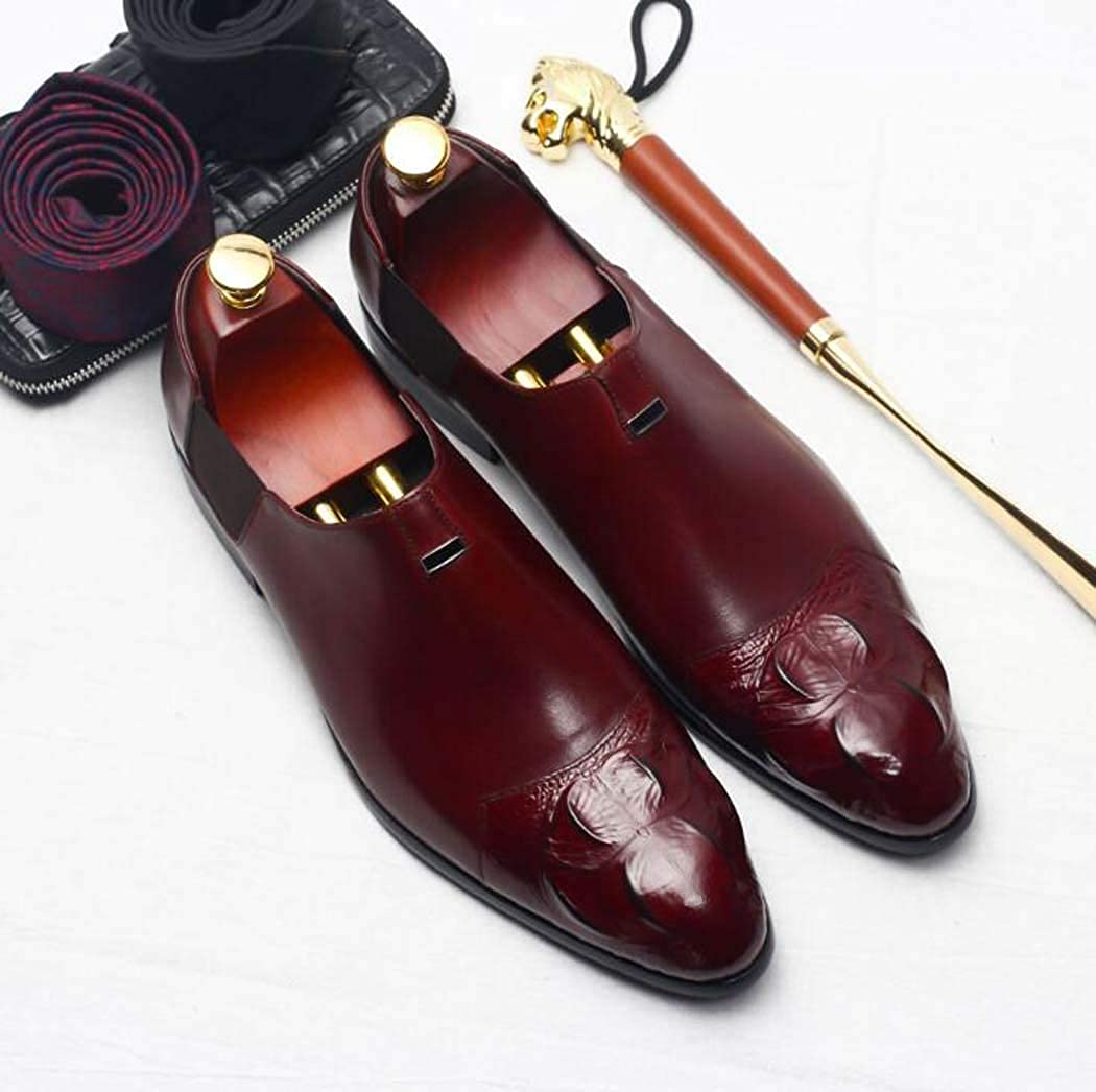 Formal Leather Shoes Oxford Dress Shoes for Men-Casual Classic Mens Shoes-Modern Shoes Color : Red, Size : 42