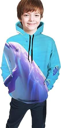 shenguang Sudadera con Capucha para niños Youth Hoodie Sweatshirt, Dolphin Realistic 3D Digital Printed Pullover Tops for Boys Girls 7-20 Years