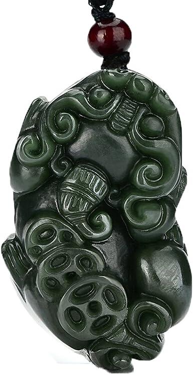 Kirin Beautiful Natural Chinese Dark Jade Pendant Black Green Hand Carved Amulet
