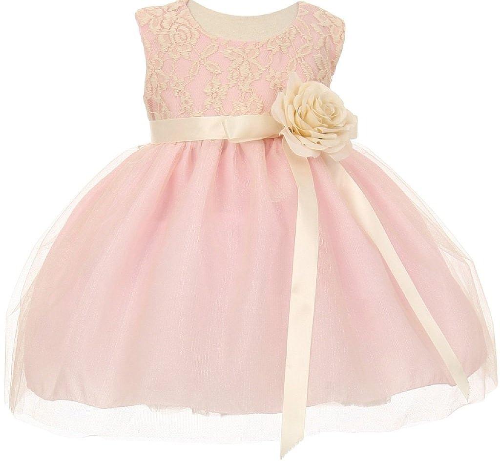 Little Girls Elegant Contrast 3D Lace Tulle Easter Graduation Flower Girl Dress