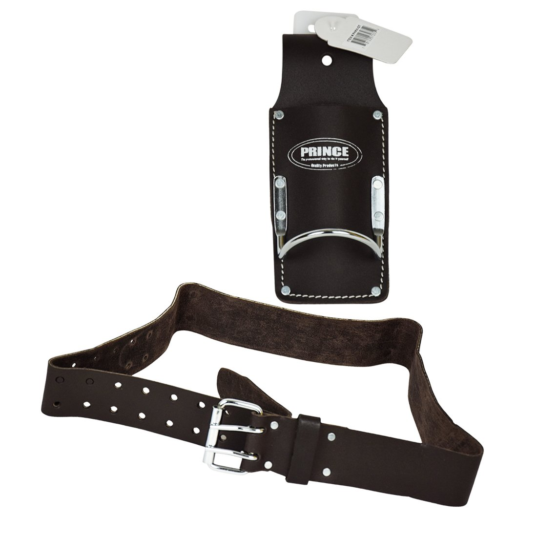 Prince Bundle Oil Tan Leather Heavy Duty Hammer Hanger and Utility Knife Holder with Oil Tanned Leather Belt Combo