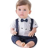 ARAUS Pagliaccatti da Neonato Bambini Tutine Completini Batessimo a Manica Corta Smoking Baptism Formale Suit Estivo (0-24 Mesi)