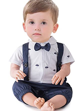 2c288b259 ARAUS Bow Tie Gentleman Christening Suit Baby Boy Short Sleeve Shirt + Bib  Overalls Formal Tuxedo Summer Outfits Clothes: Amazon.co.uk: Clothing
