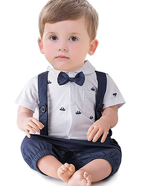 17b979d9b56 ARAUS Bow Tie Gentleman Christening Suit Baby Boy Short Sleeve Shirt + Bib  Overalls Formal Tuxedo Summer Outfits Clothes  Amazon.co.uk  Clothing