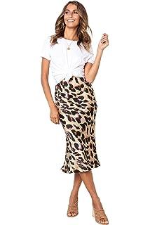 28e5bd41dc1b1e Women's Irregular Leopard Print Midi Bodycon Pencil Skirt Stretchy Elastic  Waist