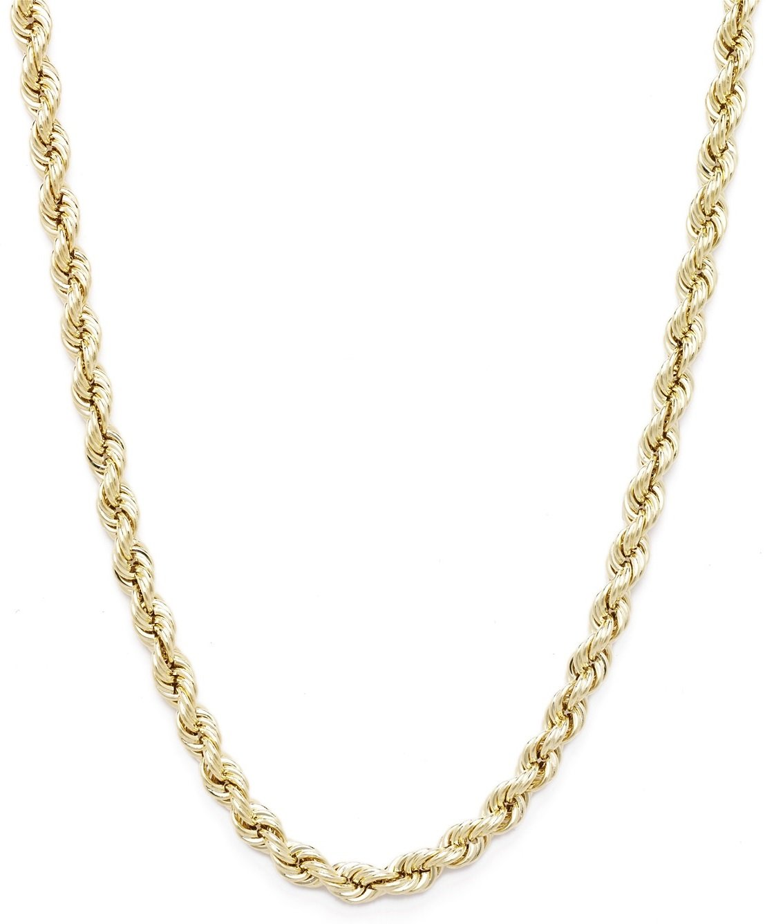 18 Inch 10k Yellow Gold Hollow Rope Chain Necklace with Lobster Claw Clasp for Women and Men, 2mm