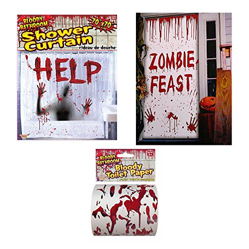 Bloody Bathroom Halloween decorating kit, Bloody Shower Curtain, Bloody Toilet Paper and Bloody Door (Decorating Doors For Halloween)