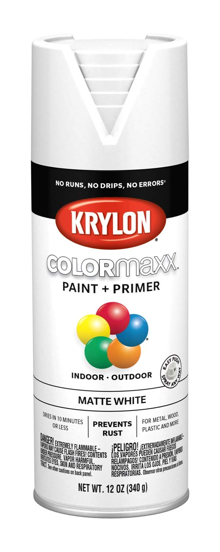 Krylon K05591007 COLORmaxx Spray Paint, Aerosol, White