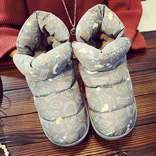 lusso all matura slittamento e anti scuro3 interno DogHaccd inverno bella casa il donne cotone uomini pantofole calda Grigio mop con felpa Luce inclusive 4wCCqItAx