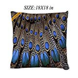 Artsbaba Pillowcases Blue Peacock Feather Zipped Pillowcase Decorative Throw Pillow Cover 18''x18''