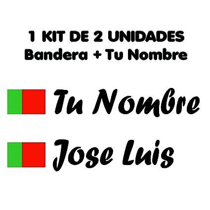 Pegatina Vinilo Bandera Portugal + tu Nombre - Bici, Casco, Pala ...