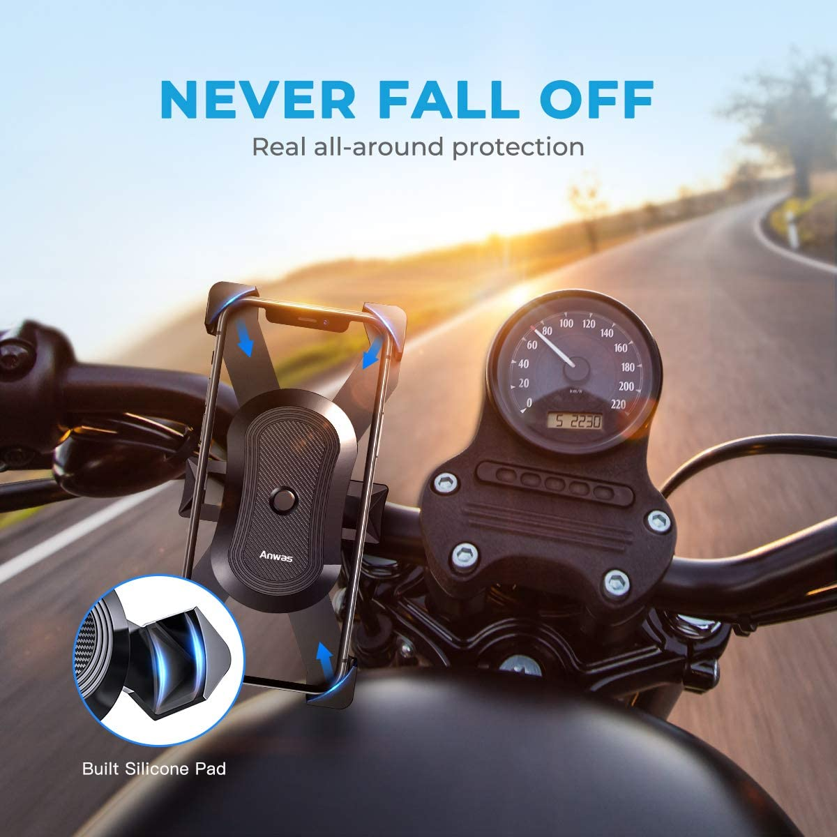 Anwas Bike Phone Mount【2020 Mechanical Safety Locking System】 Phone Mount for Bike Fit for iPhone 12 Pro Max 12 Mini 11 Pro Max XR X and All Android Phone Anti-Shake 360/° Rotation Bike Phone Holder