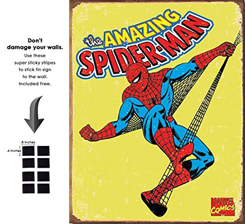 Shop72 Tin Sign Marvell Comic Series Spiderman Super Hero Metal Tin Sign Retro Vintage