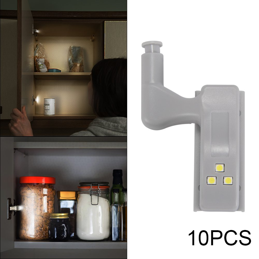 Kreema 10pcs Universal Cabinet Cabinet Bisagra LED luz iluminacion interna Cool White para cocina moderna armario