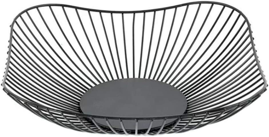 Modern Countertop Wire Fruit Storage Basket Bowl Holder Stand for Kitchen, Home, Office, Creative Large Square Black Table Centerpiece Plate for Bread, Veggies and Household Items, 10 In (Square)