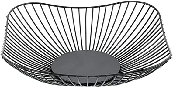 Large Square Chrome Fruit Bowl Storage Display Basket Centerpiece Bowl /& Bamboo