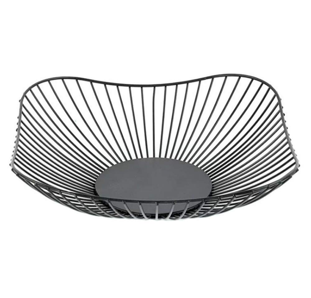 10 Inch and Decorative Items Metal Wire Fruit Container Bowls Stand for Modern Kitchen Countertop Curve K Cup Large Round Black Storage Baskets for Bread