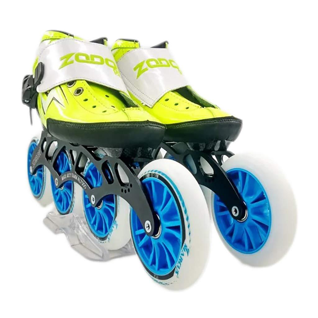 NUBAOgy インラインスケート、90-110ミリメートル直径の高弾性PUホイール、4色で利用可能な子供のための調整可能なインラインスケート (色 : Green, サイズ さいず : 41) B07HR51JR5 34|Green Green 34