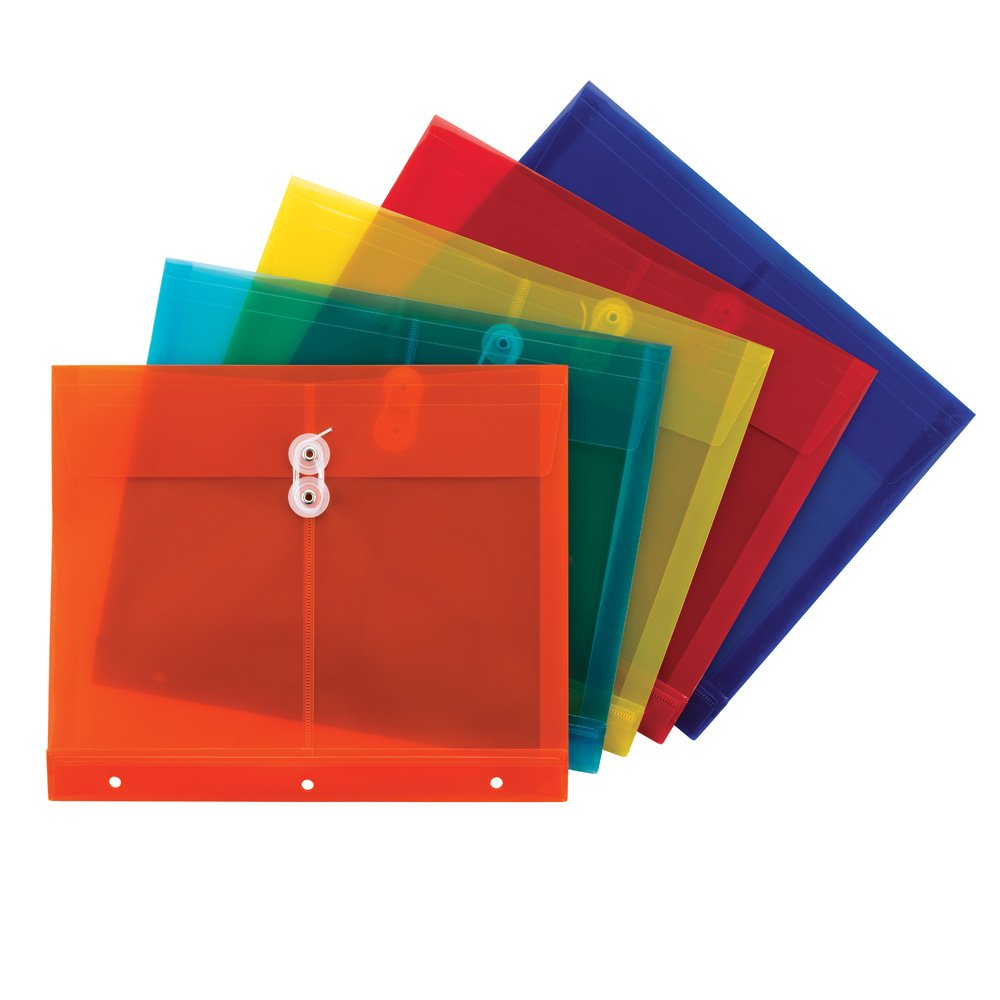 Smead Poly Project Envelope, 1-1/4'' Expansion, String-Tie Closure, Side Load, Letter Size, 5  per Pack (89519)
