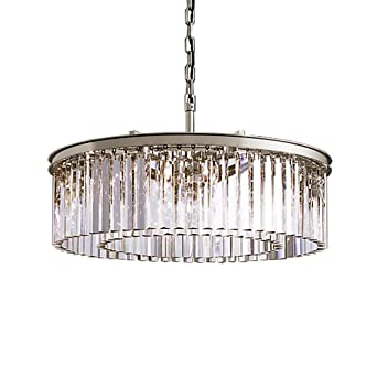Rhys 8 light clear round glass prism chandelier light fixture in rhys 8 light clear round glass prism chandelier light fixture in polished nickel finish restoration aloadofball Image collections