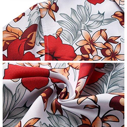 Floral Tropical Button Aloha Men's Beachwear Shirts 5302 Down Chambray Hawaiian red Risnow 71WfcAf
