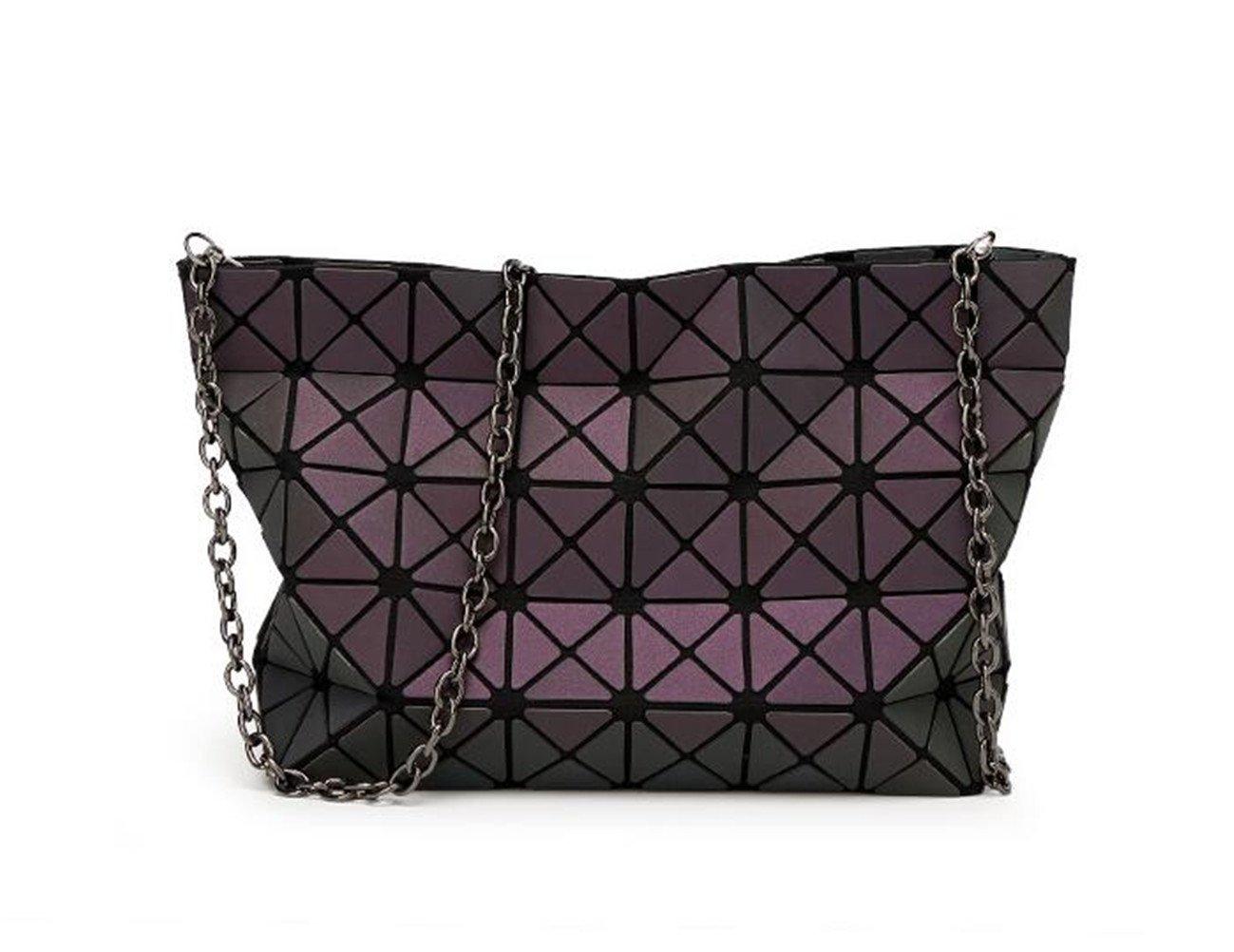 Style Women-Bag Geometry Casual Totes Shoulder Bag Hologram Luminous Bag Logo Inside Silver