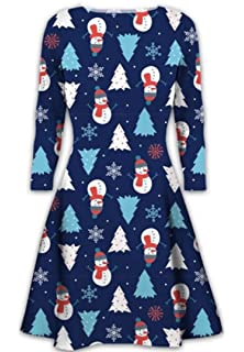 e7772081d4c Womens Christmas Dresses Ladies Long Sleeve Olaf Santa Novelty Stocking Xmas  Swing Plus Size