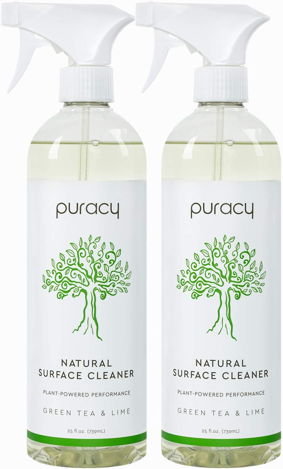 Puracy All Purpose Cleaner, StreakFree, Food Safe Natural Household MultiSurface Spray, Green Tea & Lime, Green Tea & Lime, 25 Fl Oz (Pack of 2), Green Tea & Lime, 50 Fl Oz
