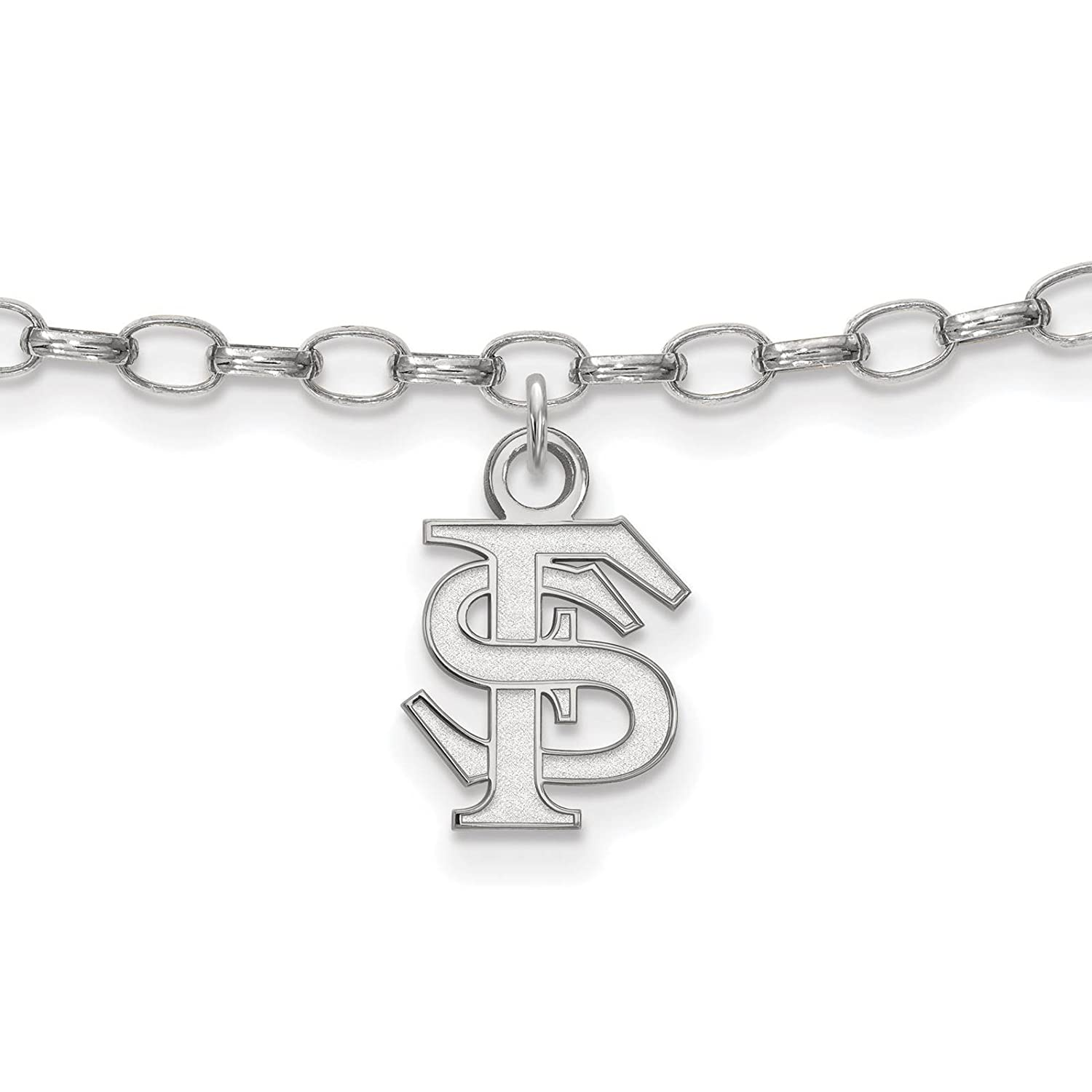 925 Sterling Silver Rhodium-plated Laser-cut Florida State University Anklet 9
