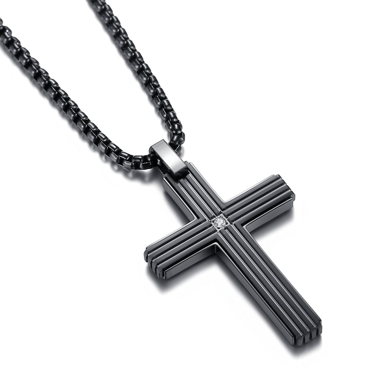 Reve Jewelry Simple Stainless Steel CZ Inlay Cross Pendant Necklace for Men Women, 20''-24'' Rolo Chain (Black: 24'' Chain)