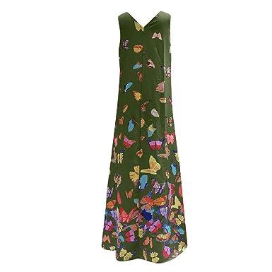 Donne Elegante Abito da Cerimonia Sera Lungo Schienale Fascia Vestito Senza Maniche Estivo Casual Floreale Fiori Fantasia Dress