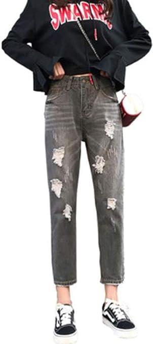 AOZUOジーンズ レディース ロング ゆったり デニム ズボン おおきいサイズ 伸縮性ジーンズ ダメージボトムス 美脚 春秋冬ストレッチ ジーパンクラッシュパンツ スキニー 可愛い 着痩せ