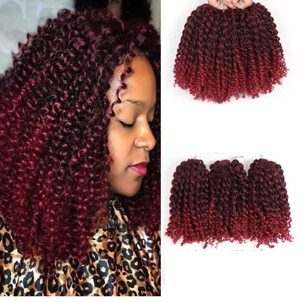 Amazoncom Hvaxing 8 Inch Short Marlybob Crochet Braiding Hair 3