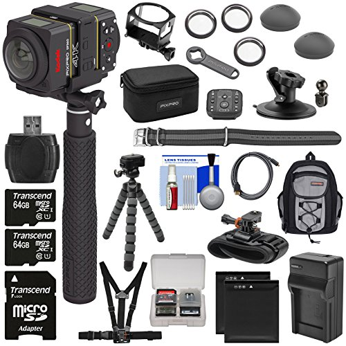 KODAK PIXPRO SP360 4K HD Wi-Fi Video Action Camera Camcorder - Dual Pro Pack with Remote + Chest, Wrist & Action Mounts + 2X 64GB + 2X Battery + Backpack + Tripod Kit