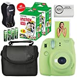 Fuji Instax Mini 9 Camera Lime Green + Carry Case + Rechargeable AA Batteries & Charger + Instax Mini Film (40 Sheets)