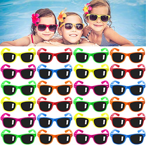 Kids Sunglasses Party Favors, 24Pack Neon Sunglasses for Kids,Boys and Girls, Great Gift for Birthday Party Supplies, Beach, Pool Party Favors, Fun Gift, Party Toys, Goody Bag Favors - 80's Party Accessories (Sunglasses Kids)