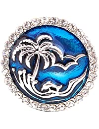 Interchangeable Snap Jewelry Snap Charm Enamel Palm Tree & Waves 18-20mm