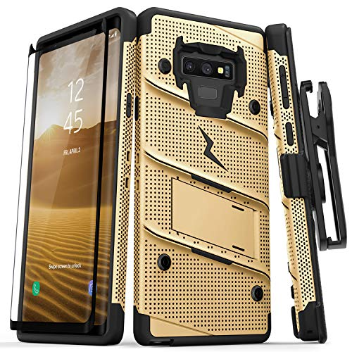 Zizo Bolt Series Galaxy Note 9 Case with Holster, Lanyard, Military Grade Drop Tested and Tempered Glass Screen Protector for Samsung Galaxy Note 9 Cover - Gold/Black