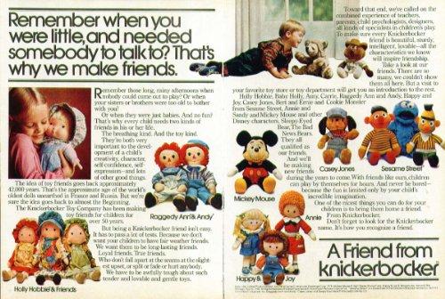 Raggedy Ann Mickey Mouse Sesame Street Knickerbocker ad (Raggedy Knickerbocker Ann)