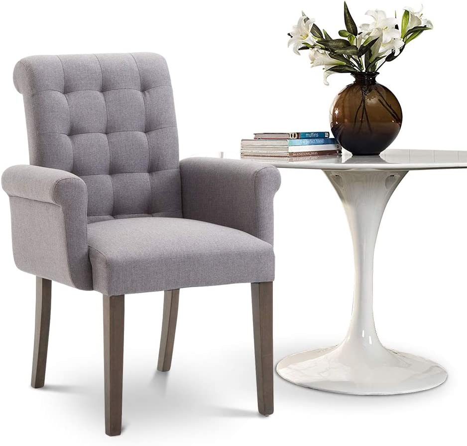 Dining Accent Chair with Fabric Tufted Cushion Armrest and Solid Wood Legs, Perfect for for Home Kitchen Living Room, Grey