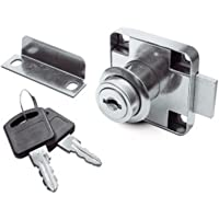 Opschroef Meubelslot voor schuifdeuren en rolluiken met slotcilinder, sluitplaat en 2 sleutels
