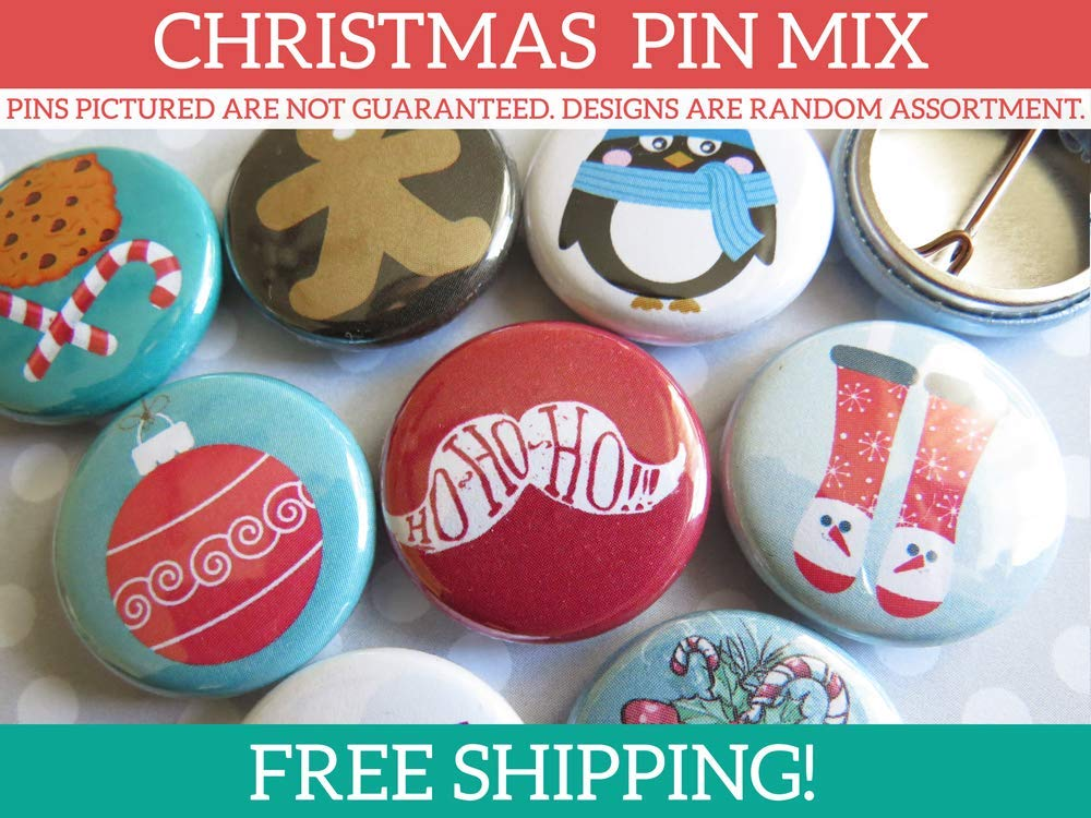 Cheap Christmas Office Party Gifts for Coworkers, Favors, Decor, Decorations, Stockings - 10-100 Bulk Christmas Pins Gifts