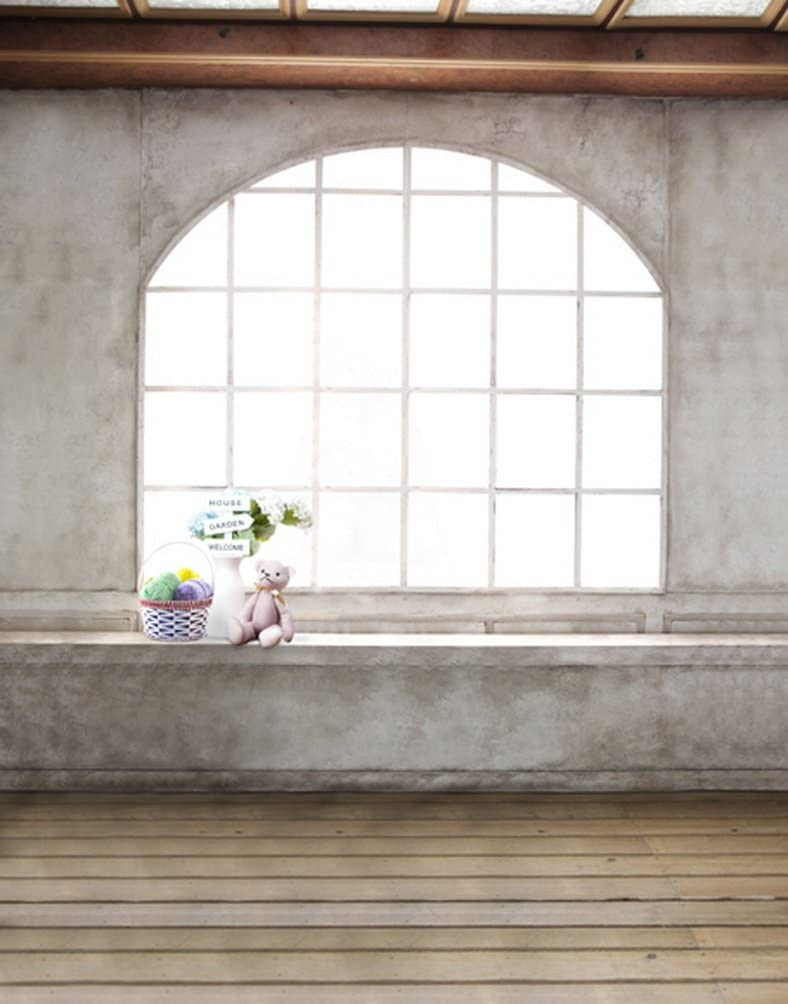 5x7ft Wooden Floor Old Room Window Cute Bear Photography Background Computer-Printed Vinyl Backdrops