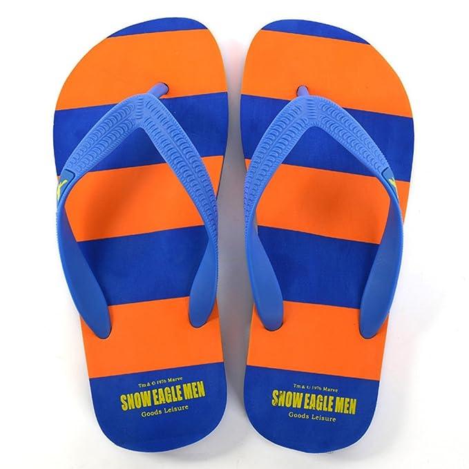 QIDI Sandalen Kunststoff Sommersaison Streifen Sandalen Farbblock Männer Flacher Boden Strandschuhe Hausschuhe (Farbe : T4, größe : EU39/UK6)