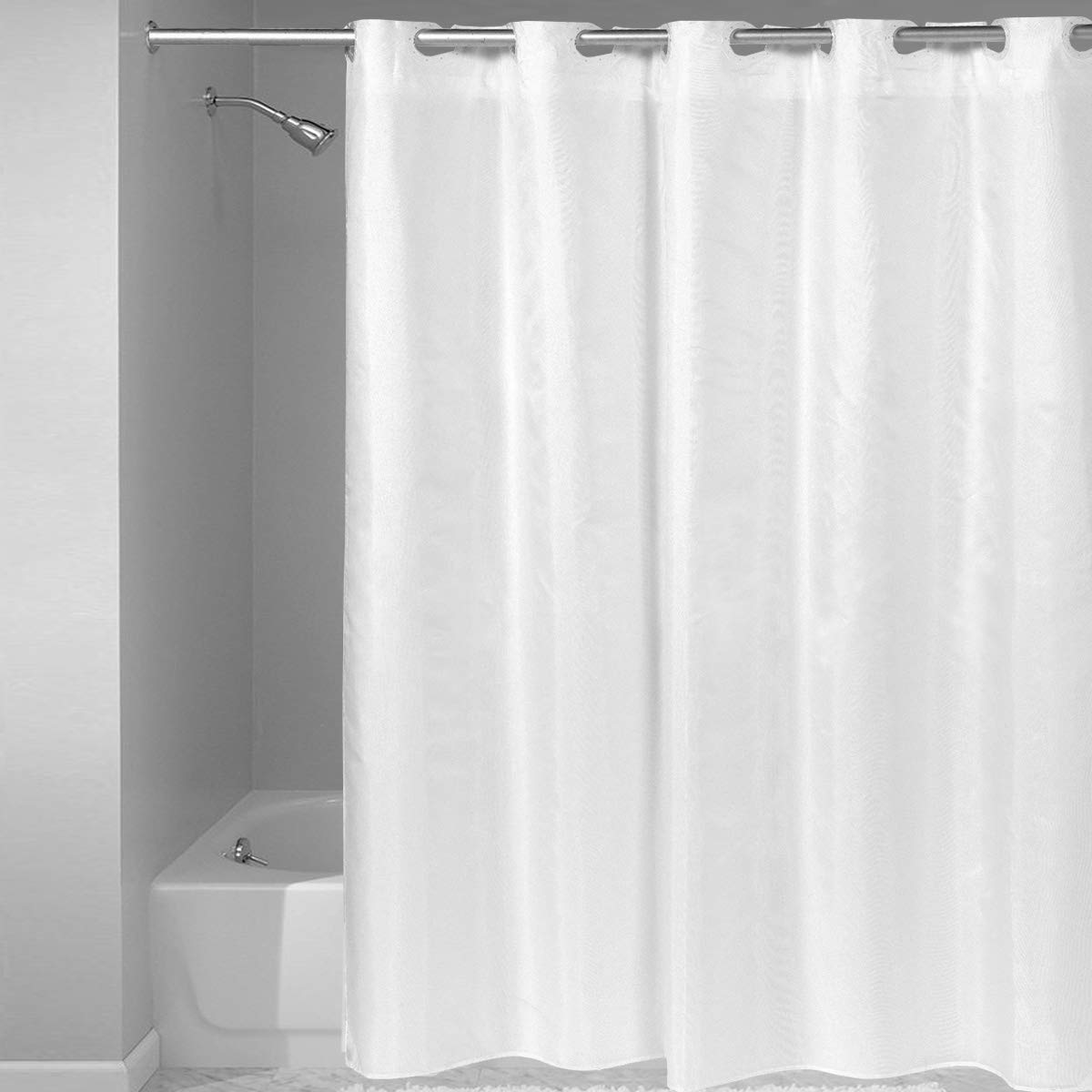 Heavy-Duty Vinyl Pre-Hooked Sweet Home Collection Replacement Curtain Liner Fashionable-with Rust Proof Metal Grommets and Anti-Slip Magnets 70 x 72 White Mildew Resistant Bacterial