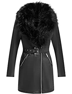 Wonderfully Parka Coat with Detachable Faux Fur Collar Bellivera Womens Faux Suede Leather Long Jacket