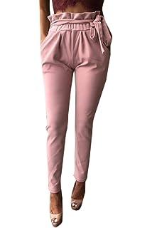 Pantalon De Loisirs Femme Taille Haute Slim Fit Pantalons Crayon Fashion  Elégante Trousers Uni Manche avec… 46e70bbebe5