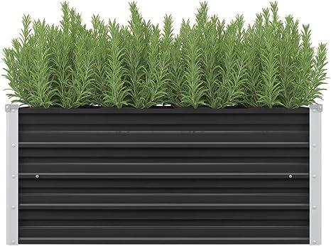 vidaXL Garden Raised Bed Open Bottom Outdoor Patio Lawn Flower Pot Plant Basket Raised Bed Anthracite 160x40x45cm Galvanised Steel